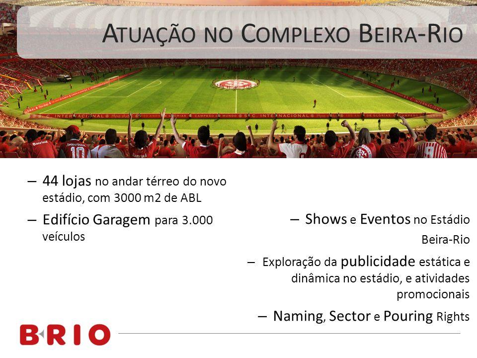 – 44 lojas no andar térreo do novo estádio, com 3000 m2 de ABL – Edifício Garagem para 3.000 veículos – Shows e Eventos no Estádio Beira-Rio – Explora