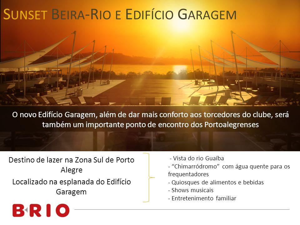 Destino de lazer na Zona Sul de Porto Alegre Localizado na esplanada do Edifício Garagem S UNSET B EIRA -R IO E E DIFÍCIO G ARAGEM - Vista do rio Guaí
