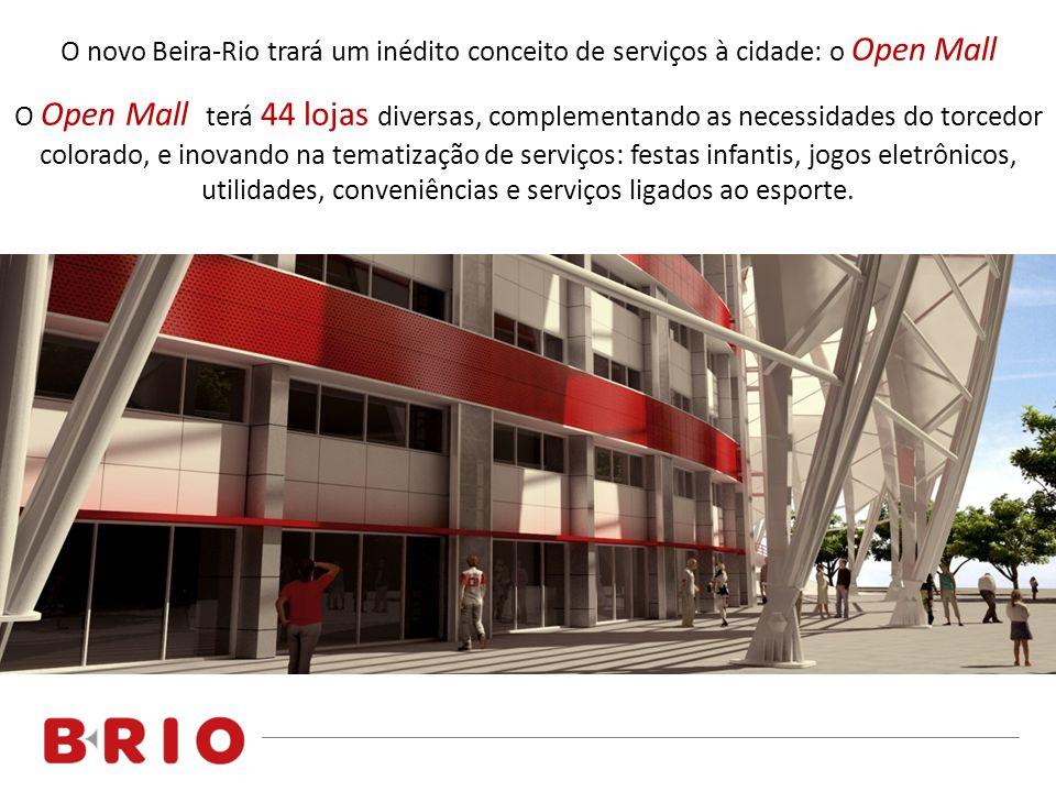 O novo Beira-Rio trará um inédito conceito de serviços à cidade: o Open Mall O Open Mall terá 44 lojas diversas, complementando as necessidades do torcedor colorado, e inovando na tematização de serviços: festas infantis, jogos eletrônicos, utilidades, conveniências e serviços ligados ao esporte.