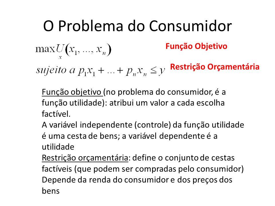 O Problema do Consumidor Restrição Orçamentária Função Objetivo Função objetivo (no problema do consumidor, é a função utilidade): atribui um valor a