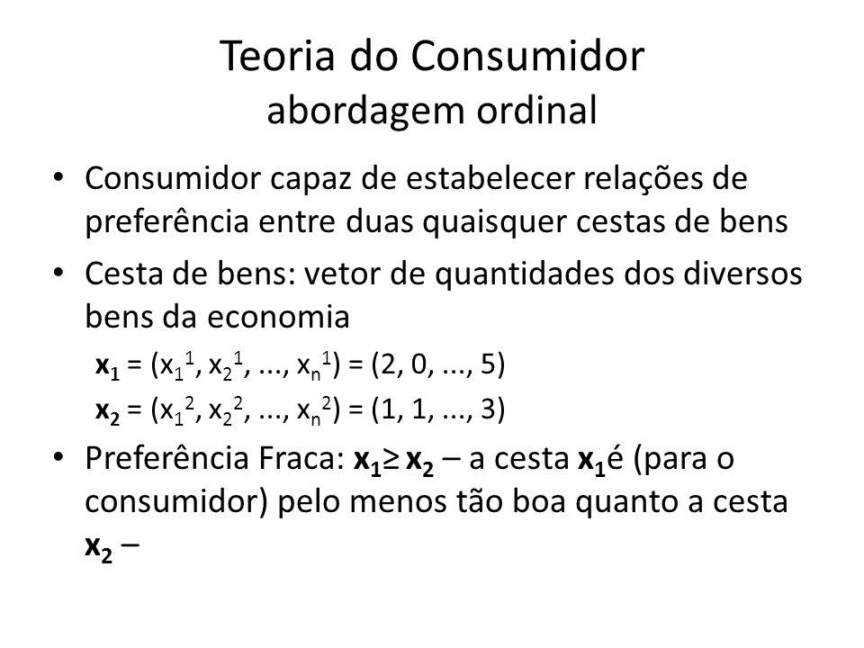 Teoria do Consumidor abordagem ordinal • Consumidor capaz de estabelecer relações de preferência entre duas quaisquer cestas de bens • Cesta de bens: