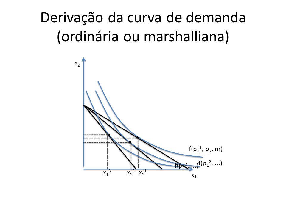 Derivação da curva de demanda (ordinária ou marshalliana) x2x2 x1x1 x11x11 x12x12 x13x13 f(p 1 3,...) f(p 1 2,...) f(p 1 1, p 2, m)