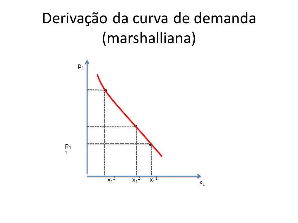 Derivação da curva de demanda (marshalliana) p1p1 x1x1 x11x11 x12x12 x13x13 p11p11