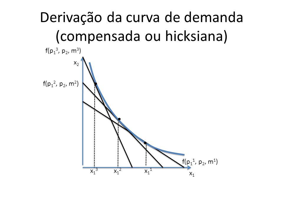 Derivação da curva de demanda (compensada ou hicksiana) x2x2 x1x1 x13x13 x12x12 x11x11 f(p 1 1, p 2, m 1 ) f(p 1 2, p 2, m 2 ) f(p 1 3, p 2, m 3 )