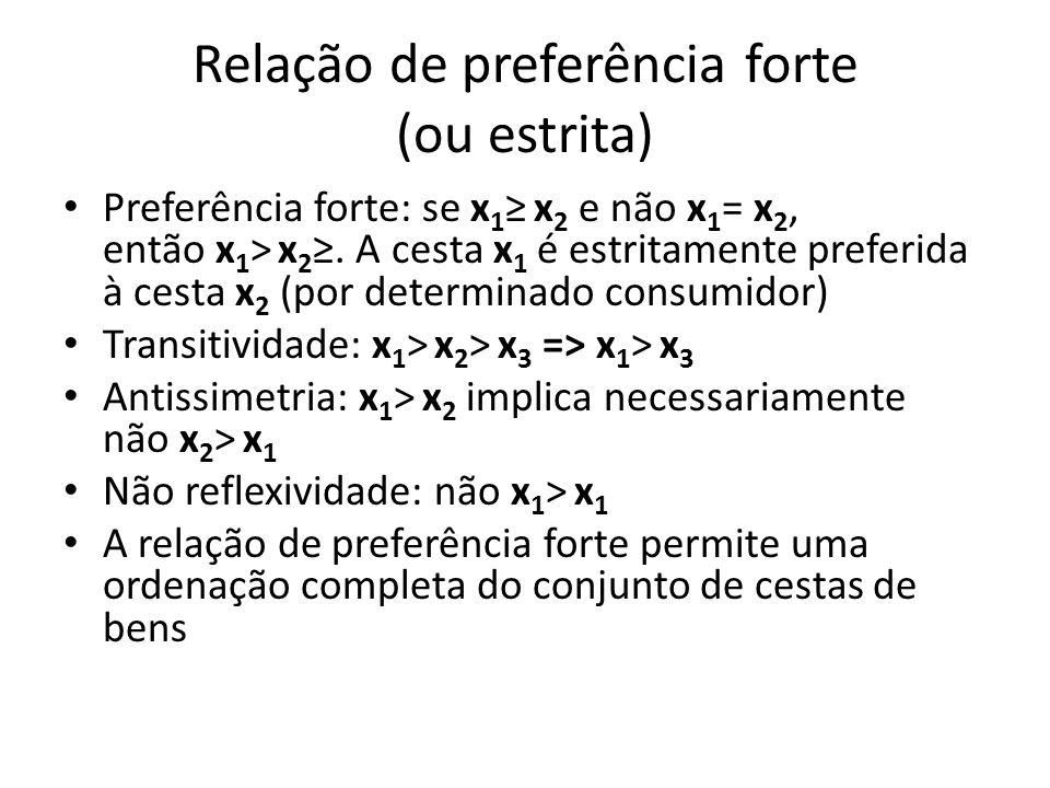 Relação de preferência forte (ou estrita) • Preferência forte: se x 1 ≥ x 2 e não x 1 = x 2, então x 1 > x 2 ≥. A cesta x 1 é estritamente preferida à