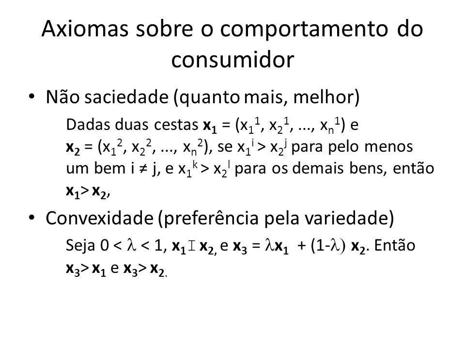 Axiomas sobre o comportamento do consumidor • Não saciedade (quanto mais, melhor) Dadas duas cestas x 1 = (x 1 1, x 2 1,..., x n 1 ) e x 2 = (x 1 2, x
