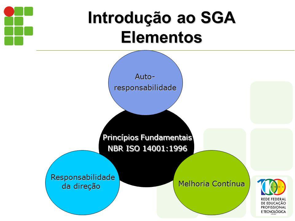 Introdução ao SGA Elementos Princípios Fundamentais NBR ISO 14001:1996 Auto-responsabilidade Responsabilidade da direção Melhoria Contínua