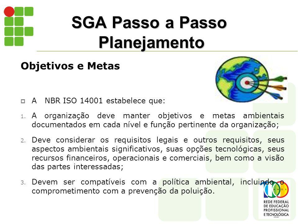 SGA Passo a Passo Planejamento Objetivos e Metas  A NBR ISO 14001 estabelece que: 1.