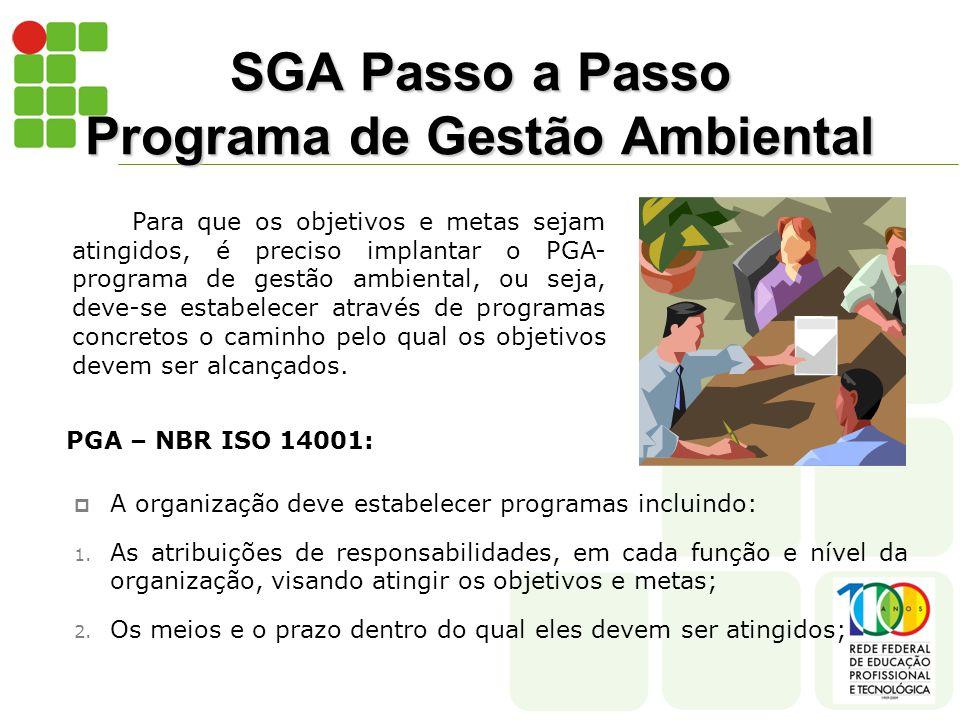 SGA Passo a Passo Programa de Gestão Ambiental Para que os objetivos e metas sejam atingidos, é preciso implantar o PGA- programa de gestão ambiental, ou seja, deve-se estabelecer através de programas concretos o caminho pelo qual os objetivos devem ser alcançados.