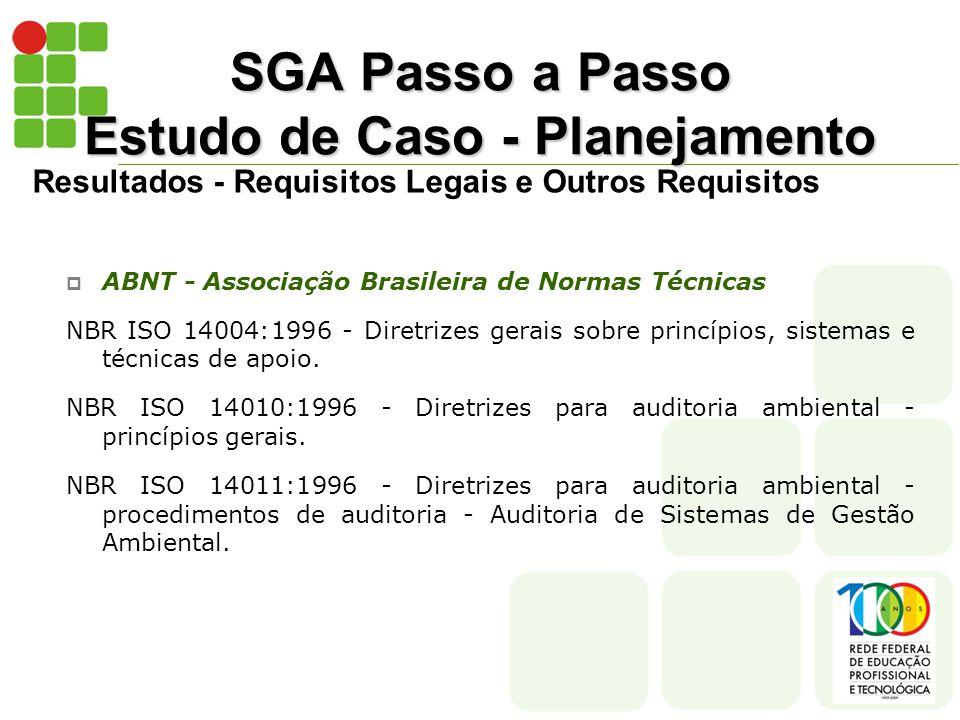SGA Passo a Passo Estudo de Caso - Planejamento Resultados - Requisitos Legais e Outros Requisitos  ABNT - Associação Brasileira de Normas Técnicas NBR ISO 14004:1996 - Diretrizes gerais sobre princípios, sistemas e técnicas de apoio.