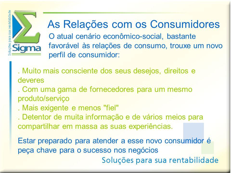 As Relações com os Consumidores. Muito mais consciente dos seus desejos, direitos e deveres. Com uma gama de fornecedores para um mesmo produto/serviç