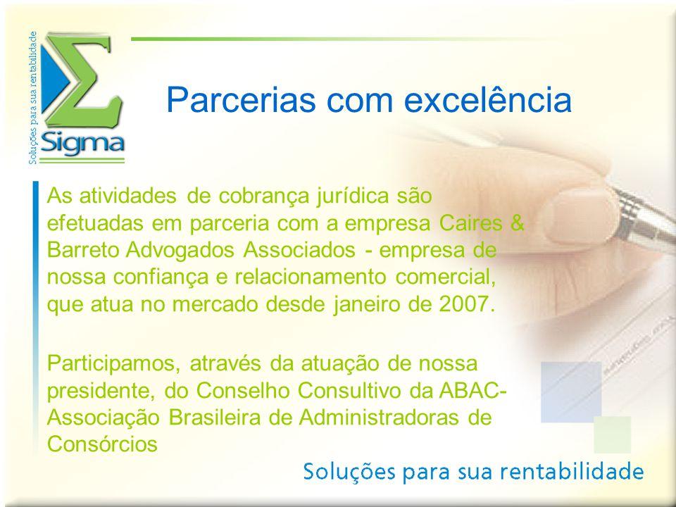 Parcerias com excelência As atividades de cobrança jurídica são efetuadas em parceria com a empresa Caires & Barreto Advogados Associados - empresa de