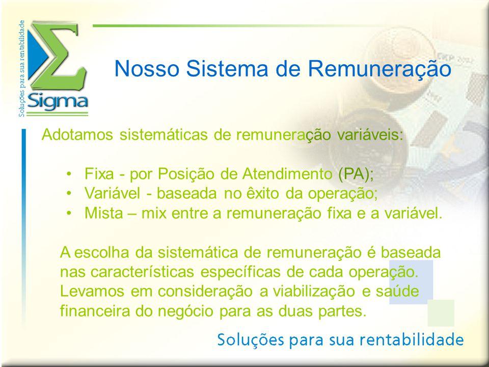 Nosso Sistema de Remuneração Adotamos sistemáticas de remuneração variáveis: •Fixa - por Posição de Atendimento (PA); •Variável - baseada no êxito da