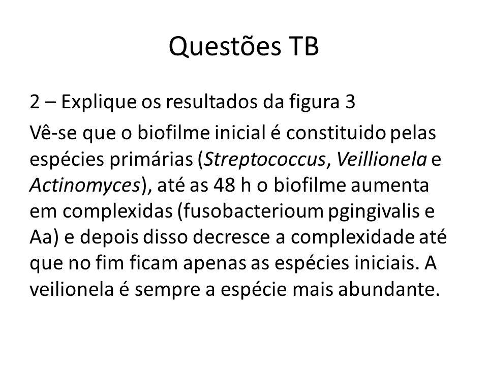 Questões TB 2 – Explique os resultados da figura 3 Vê-se que o biofilme inicial é constituido pelas espécies primárias (Streptococcus, Veillionela e Actinomyces), até as 48 h o biofilme aumenta em complexidas (fusobacterioum pgingivalis e Aa) e depois disso decresce a complexidade até que no fim ficam apenas as espécies iniciais.