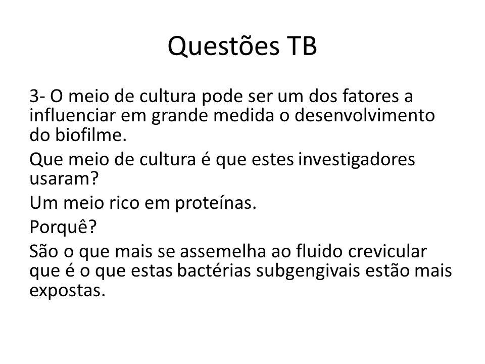 Questões TB 3- O meio de cultura pode ser um dos fatores a influenciar em grande medida o desenvolvimento do biofilme.