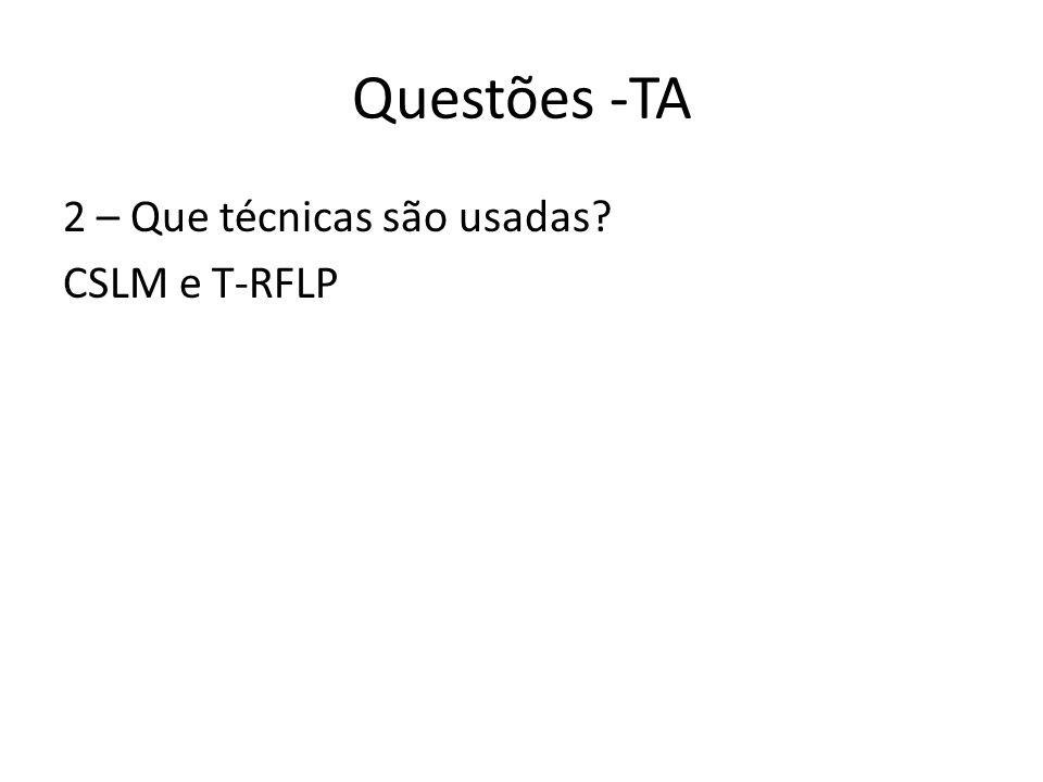 Questões -TA 2 – Que técnicas são usadas CSLM e T-RFLP