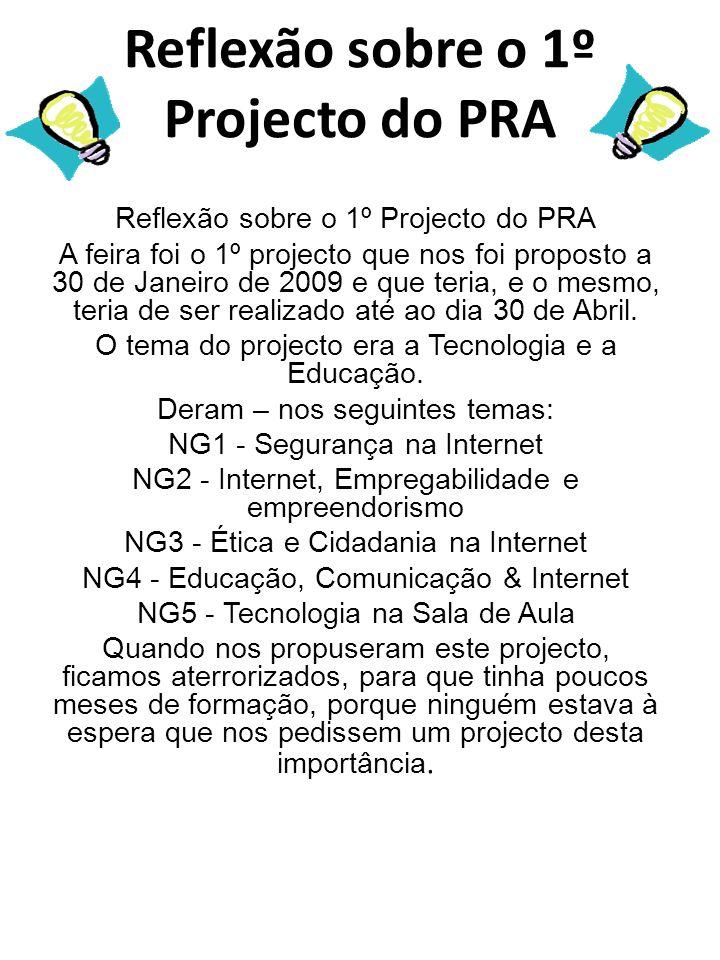 Reflexão sobre o 1º Projecto do PRA A feira foi o 1º projecto que nos foi proposto a 30 de Janeiro de 2009 e que teria, e o mesmo, teria de ser realizado até ao dia 30 de Abril.