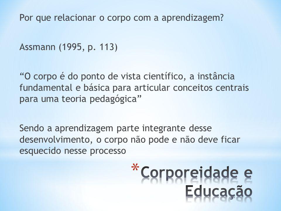 Por que relacionar o corpo com a aprendizagem.Assmann (1995, p.