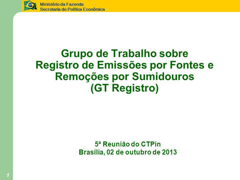 Ministério da Fazenda Secretaria de Política Econômica 1 Grupo de Trabalho sobre Registro de Emissões por Fontes e Remoções por Sumidouros (GT Registro) 5ª Reunião do CTPin Brasília, 02 de outubro de 2013