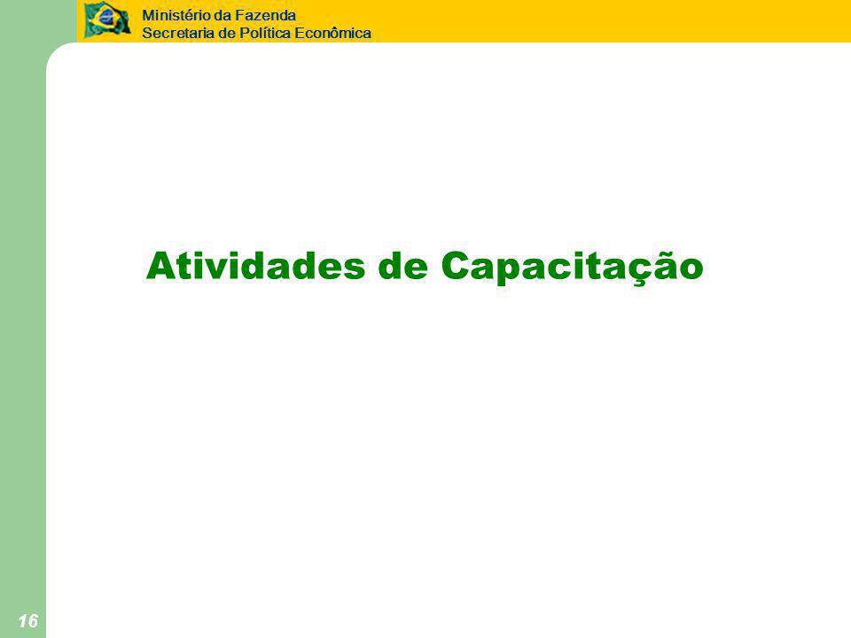 Ministério da Fazenda Secretaria de Política Econômica 16 Atividades de Capacitação