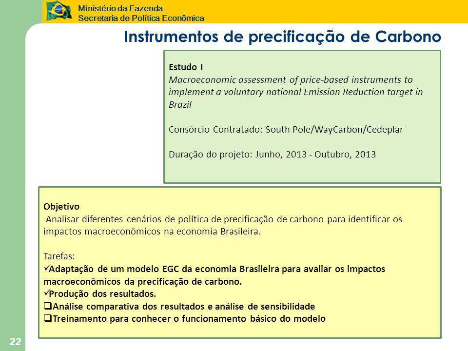 Ministério da Fazenda Secretaria de Política Econômica 22 Objetivo Analisar diferentes cenários de política de precificação de carbono para identificar os impactos macroeconômicos na economia Brasileira.