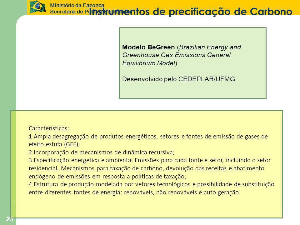 Ministério da Fazenda Secretaria de Política Econômica 23 Características: 1.Ampla desagregação de produtos energéticos, setores e fontes de emissão d