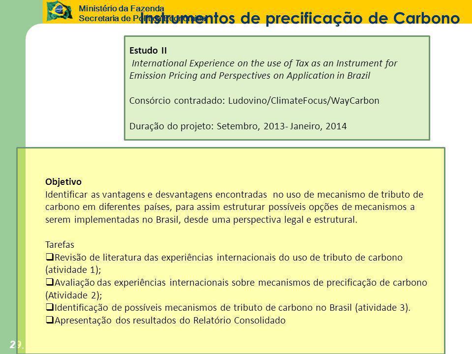 Ministério da Fazenda Secretaria de Política Econômica 29 Objetivo Identificar as vantagens e desvantagens encontradas no uso de mecanismo de tributo