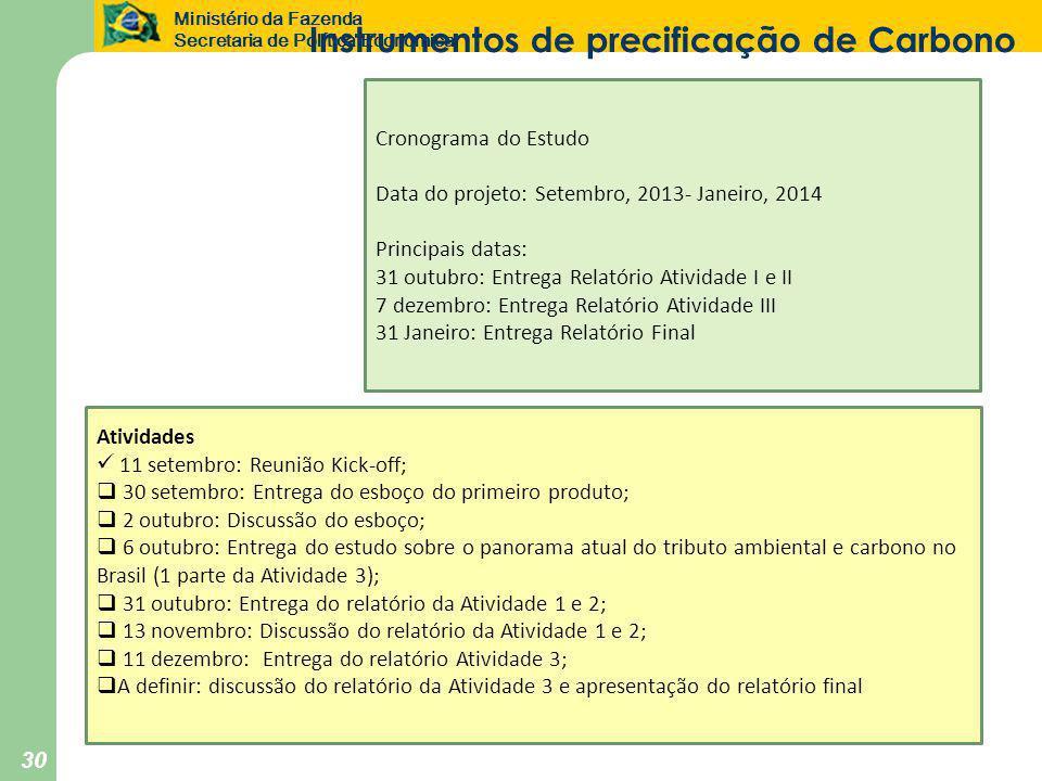 Ministério da Fazenda Secretaria de Política Econômica 30 Atividades  11 setembro: Reunião Kick-off;  30 setembro: Entrega do esboço do primeiro produto;  2 outubro: Discussão do esboço;  6 outubro: Entrega do estudo sobre o panorama atual do tributo ambiental e carbono no Brasil (1 parte da Atividade 3);  31 outubro: Entrega do relatório da Atividade 1 e 2;  13 novembro: Discussão do relatório da Atividade 1 e 2;  11 dezembro: Entrega do relatório Atividade 3;  A definir: discussão do relatório da Atividade 3 e apresentação do relatório final Cronograma do Estudo Data do projeto: Setembro, 2013- Janeiro, 2014 Principais datas: 31 outubro: Entrega Relatório Atividade I e II 7 dezembro: Entrega Relatório Atividade III 31 Janeiro: Entrega Relatório Final Instrumentos de precificação de Carbono