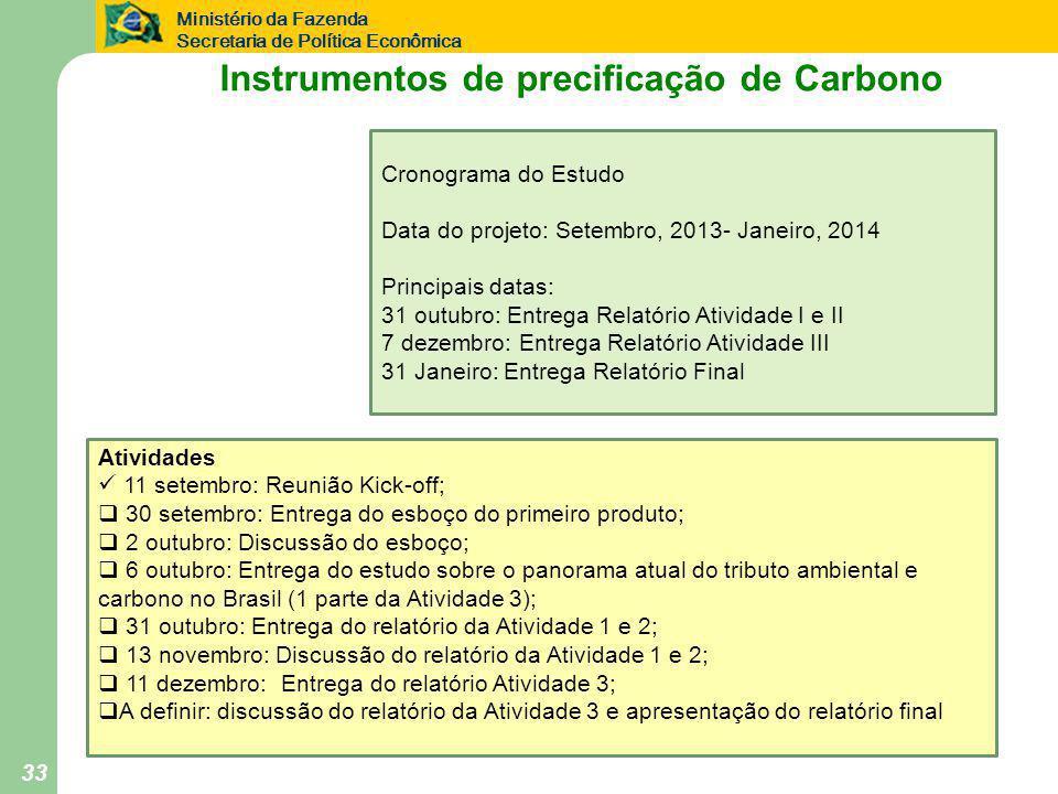 Ministério da Fazenda Secretaria de Política Econômica 33 Atividades  11 setembro: Reunião Kick-off;  30 setembro: Entrega do esboço do primeiro produto;  2 outubro: Discussão do esboço;  6 outubro: Entrega do estudo sobre o panorama atual do tributo ambiental e carbono no Brasil (1 parte da Atividade 3);  31 outubro: Entrega do relatório da Atividade 1 e 2;  13 novembro: Discussão do relatório da Atividade 1 e 2;  11 dezembro: Entrega do relatório Atividade 3;  A definir: discussão do relatório da Atividade 3 e apresentação do relatório final Cronograma do Estudo Data do projeto: Setembro, 2013- Janeiro, 2014 Principais datas: 31 outubro: Entrega Relatório Atividade I e II 7 dezembro: Entrega Relatório Atividade III 31 Janeiro: Entrega Relatório Final Instrumentos de precificação de Carbono