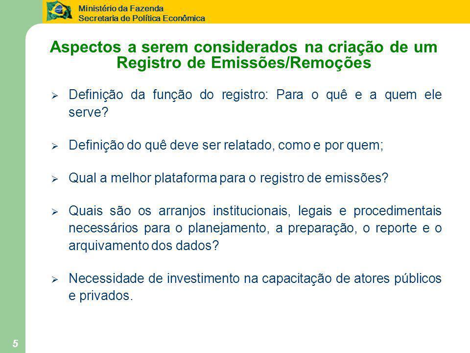 Ministério da Fazenda Secretaria de Política Econômica 5 Aspectos a serem considerados na criação de um Registro de Emissões/Remoções  Definição da f
