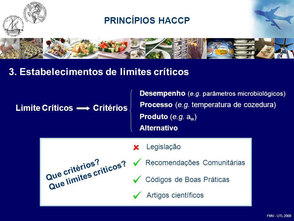 3. Estabelecimentos de limites críticos Critérios Desempenho (e.g. parâmetros microbiológicos) Alternativo Processo (e.g. temperatura de cozedura) Pro