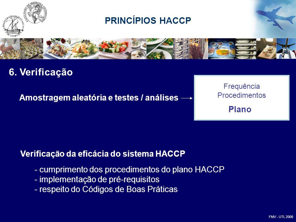 6. Verificação Amostragem aleatória e testes / análises Verificação da eficácia do sistema HACCP - cumprimento dos procedimentos do plano HACCP - impl
