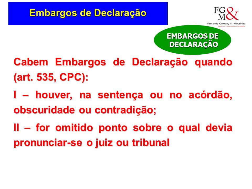 Embargos de Declaração Cabem Embargos de Declaração quando (art.