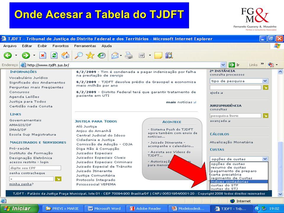 Onde Acesar a Tabela do TJDFT