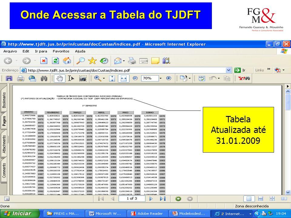 Onde Acessar a Tabela do TJDFT Tabela Atualizada até 31.01.2009