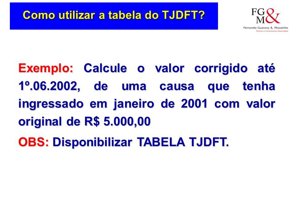 Como utilizar a tabela do TJDFT.