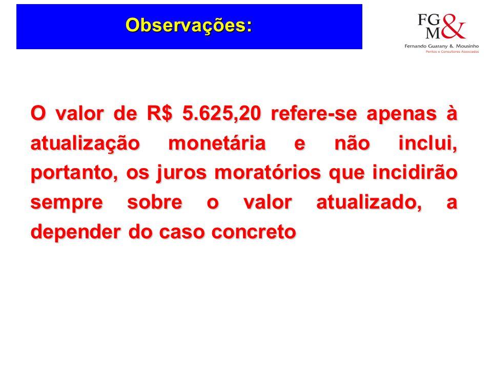 Observações: O valor de R$ 5.625,20 refere-se apenas à atualização monetária e não inclui, portanto, os juros moratórios que incidirão sempre sobre o valor atualizado, a depender do caso concreto