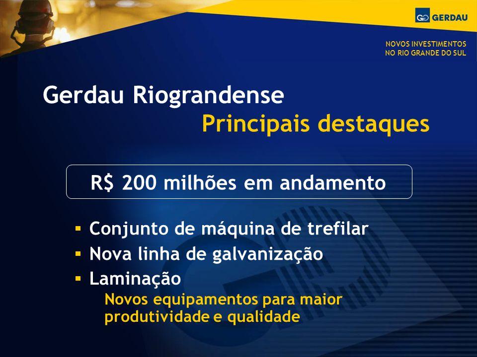 Gerdau Riograndense Principais destaques Conjunto de máquina de trefilar Nova linha de galvanização Laminação Novos equipamentos para maior produtividade e qualidade R$ 200 milhões em andamento NOVOS INVESTIMENTOS NO RIO GRANDE DO SUL