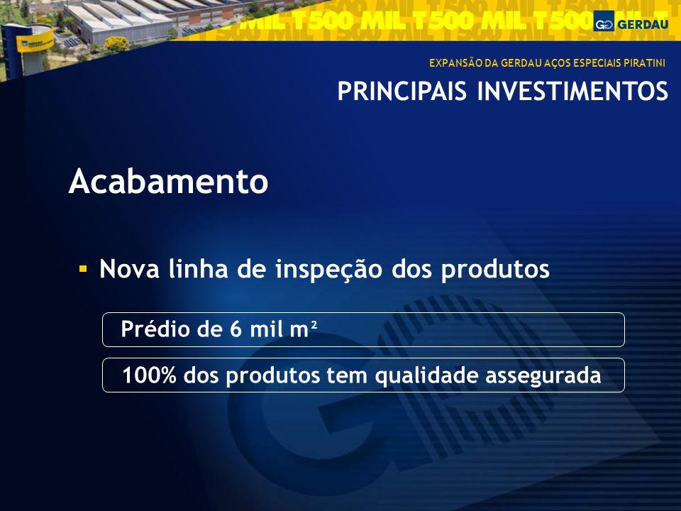 PRINCIPAIS INVESTIMENTOS Acabamento Nova linha de inspeção dos produtos Prédio de 6 mil m 100% dos produtos tem qualidade assegurada EXPANSÃO DA GERDAU AÇOS ESPECIAIS PIRATINI 2