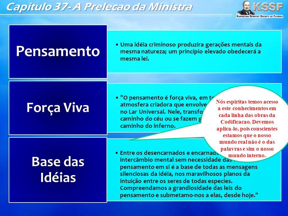 Capítulo 37- A Prelecao da Ministra •Uma idéia criminoso produzira gerações mentais da mesma natureza; um princípio elevado obedecerá a mesma lei. Pen