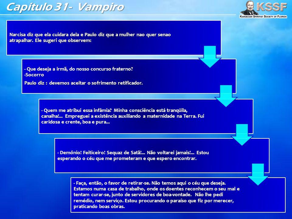 Capítulo 31- Vampiro Narcisa diz que ela cuidara dela e Paulo diz que a mulher nao quer senao atrapalhar. Ele sugeri que observem: - Que deseja a irma