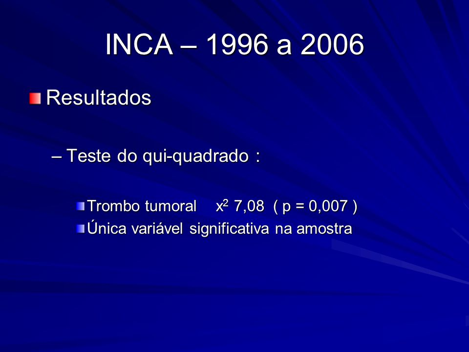 INCA – 1996 a 2006 Resultados –Teste do qui-quadrado : Trombo tumoral x 2 7,08 ( p = 0,007 ) Única variável significativa na amostra