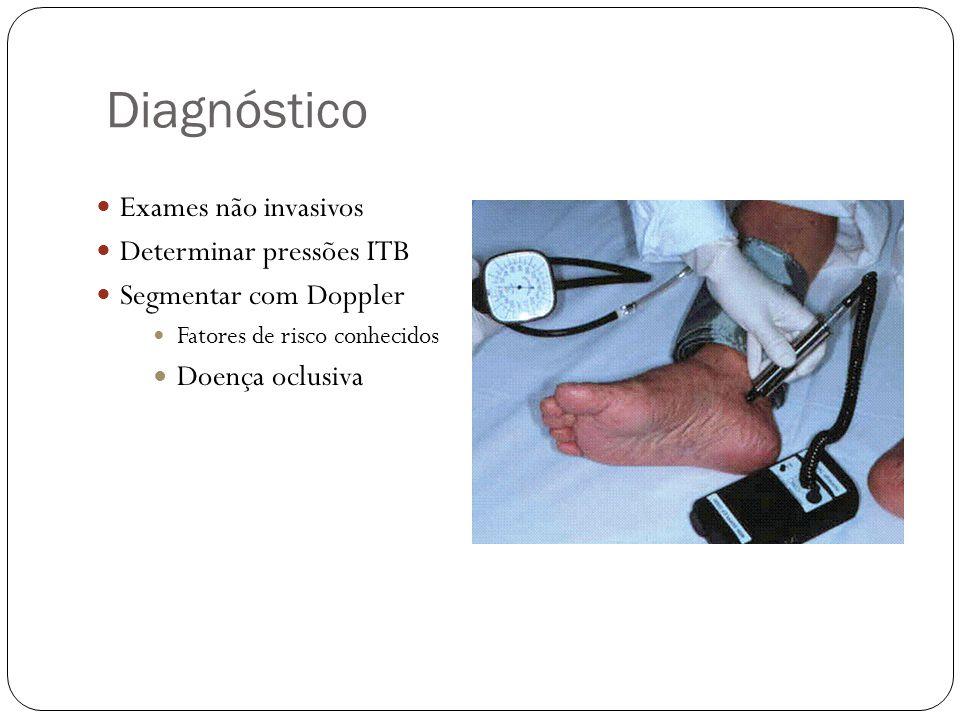 Diagnóstico  Exames não invasivos  Determinar pressões ITB  Segmentar com Doppler  Fatores de risco conhecidos  Doença oclusiva