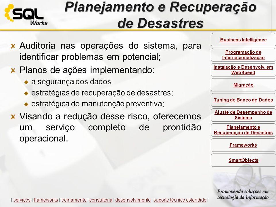Planejamento e Recuperação de Desastres Auditoria nas operações do sistema, para identificar problemas em potencial; Planos de ações implementando: a