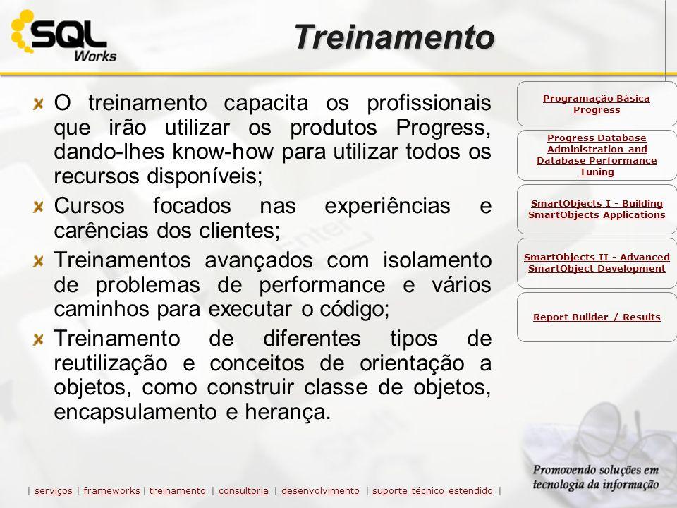 Treinamento O treinamento capacita os profissionais que irão utilizar os produtos Progress, dando-lhes know-how para utilizar todos os recursos dispon