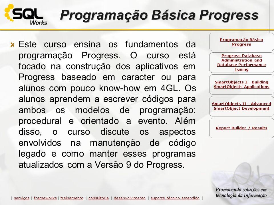 Programação Básica Progress Este curso ensina os fundamentos da programação Progress. O curso está focado na construção dos aplicativos em Progress ba
