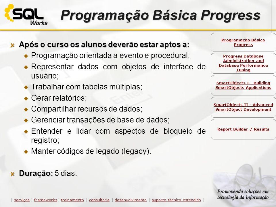 Programação Básica Progress Após o curso os alunos deverão estar aptos a: Programação orientada a evento e procedural; Representar dados com objetos d