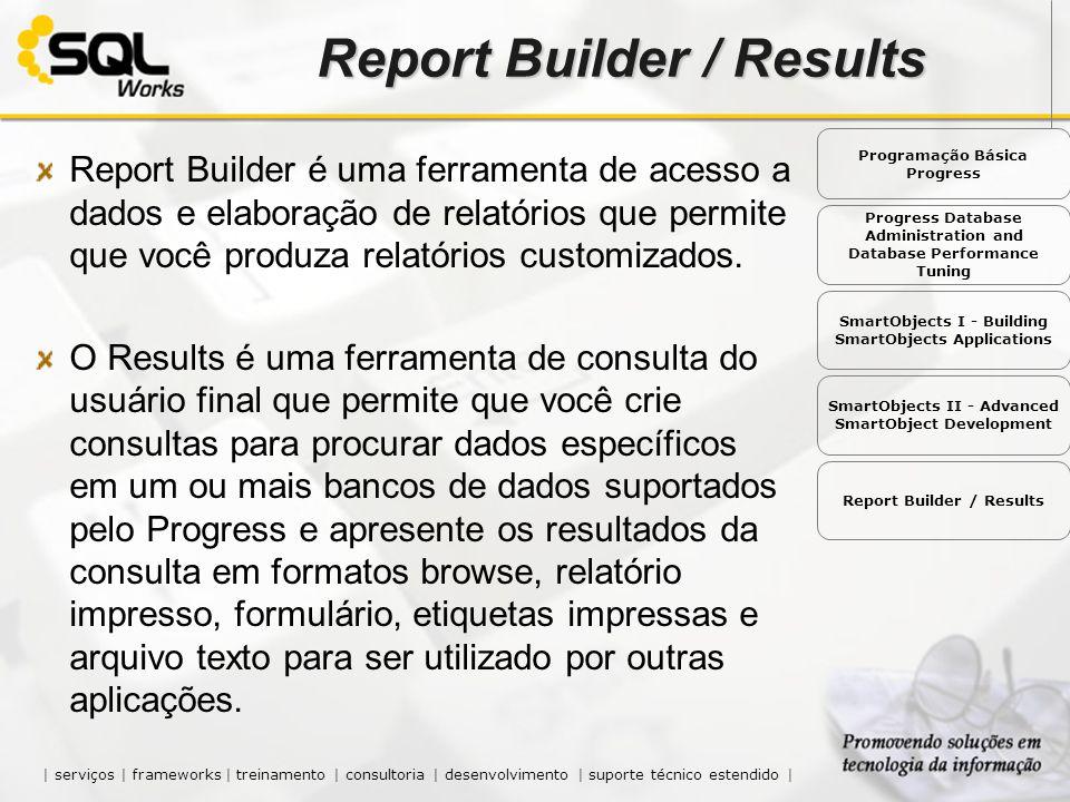 Report Builder é uma ferramenta de acesso a dados e elaboração de relatórios que permite que você produza relatórios customizados. O Results é uma fer