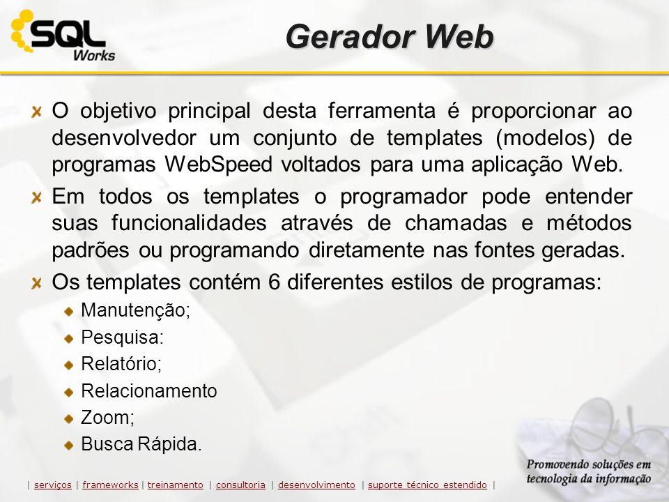Gerador Web O objetivo principal desta ferramenta é proporcionar ao desenvolvedor um conjunto de templates (modelos) de programas WebSpeed voltados pa