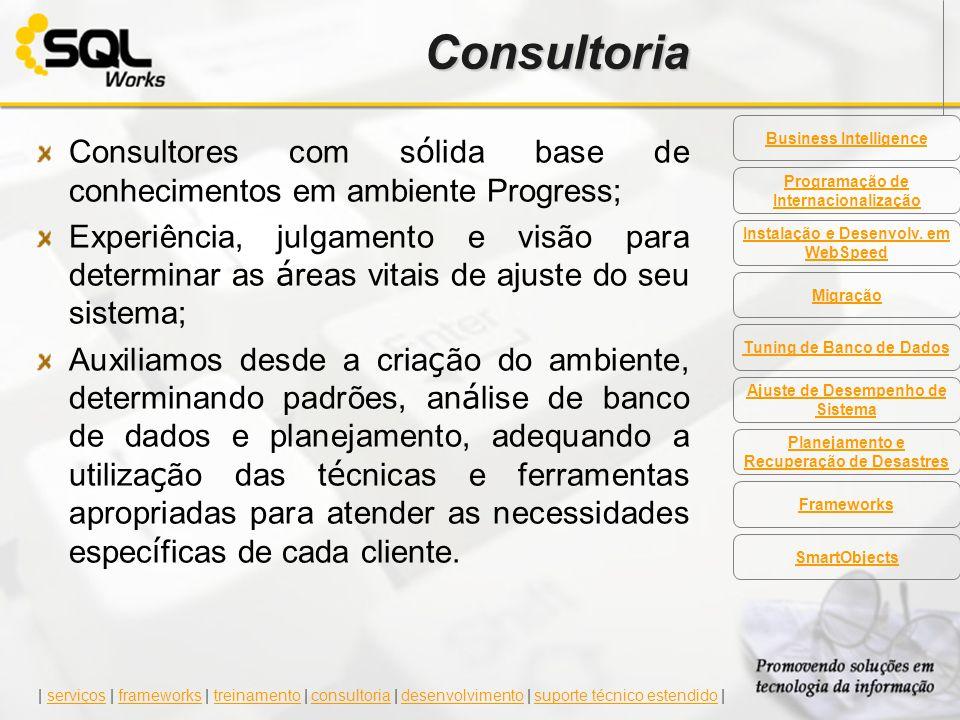 Consultoria Consultores com s ó lida base de conhecimentos em ambiente Progress; Experiência, julgamento e visão para determinar as á reas vitais de a